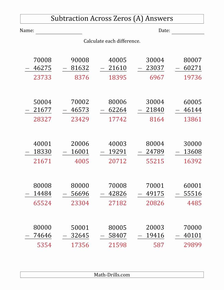 Subtracting Across Zeros Worksheet Elegant 5 Digit Subtracting Across Zeros In the Middle Es