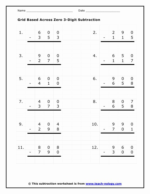 Subtracting Across Zeros Worksheet Elegant Subtracting Across Zeros Worksheet