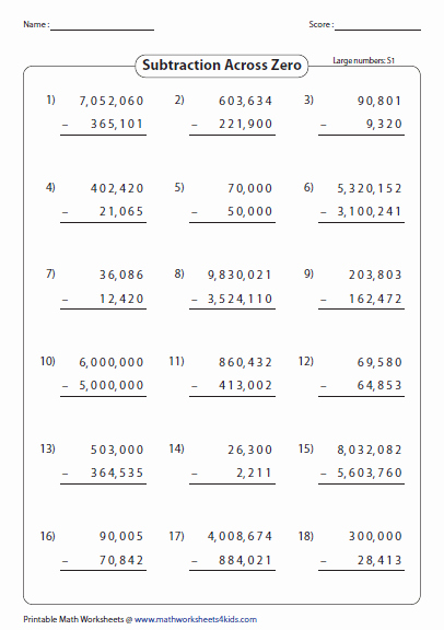 Subtracting Across Zeros Worksheet Fresh Subtraction Across Zero Worksheets