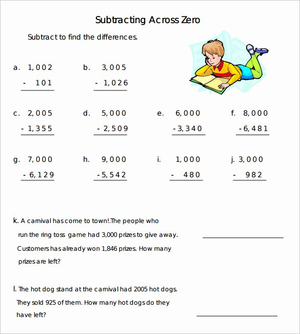 Subtracting Across Zeros Worksheet Lovely Sample Subtraction Across Zeros Worksheet 10 Documents