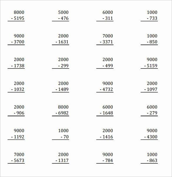 Subtracting Across Zeros Worksheet Luxury Sample Subtraction Across Zeros Worksheet 10 Documents