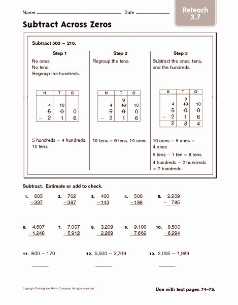 Subtracting Across Zeros Worksheet Luxury Subtract Across Zeros 2 Worksheet for 2nd 3rd Grade