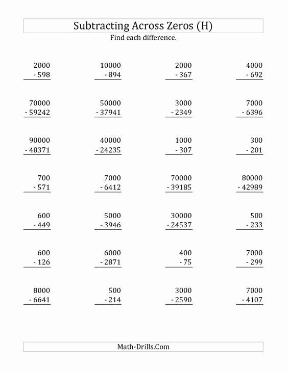 Subtracting Across Zeros Worksheet New New 2012 12 06 Subtraction Worksheet Subtracting