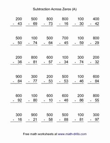 Subtracting Across Zeros Worksheet New Subtraction Across Zeros A 3rd 4th Grade Worksheet