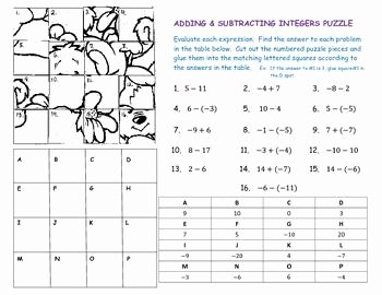 Subtracting Integers Worksheet Pdf Elegant Adding & Subtracting Integers Puzzle