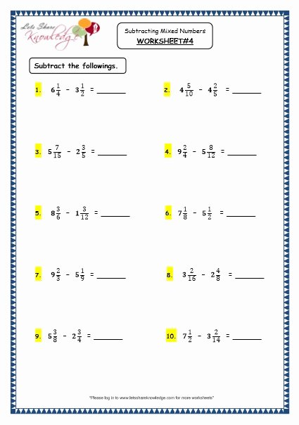 Subtracting Mixed Numbers Worksheet Beautiful Grade 4 Maths Resources 2 5 3 Subtracting Mixed Numbers