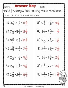 Subtracting Mixed Numbers Worksheet Inspirational Adding & Subtracting Mixed Numbers Test Worksheet by