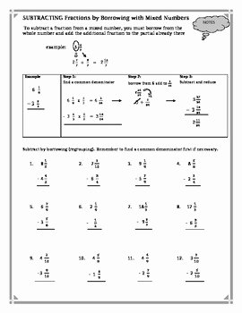 Subtracting Mixed Numbers Worksheet Inspirational Subtracting Fractions by Borrowing with Mixed Numbers