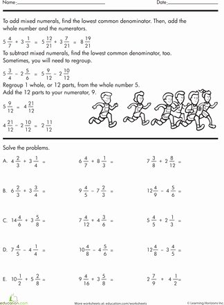Subtracting Mixed Numbers Worksheet Lovely Adding and Subtracting Mixed Numbers