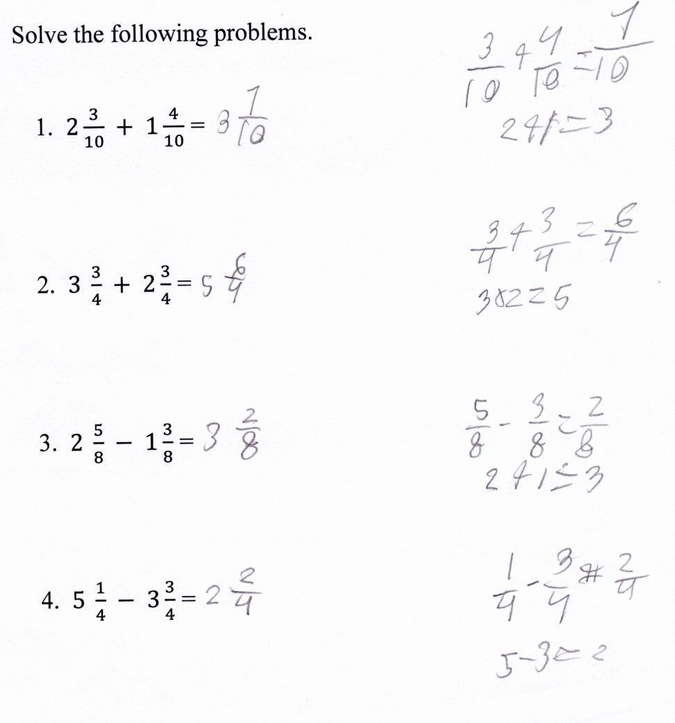 Subtracting Mixed Numbers Worksheet Luxury Adding Fractions Worksheet with Answers Picture Worksheet
