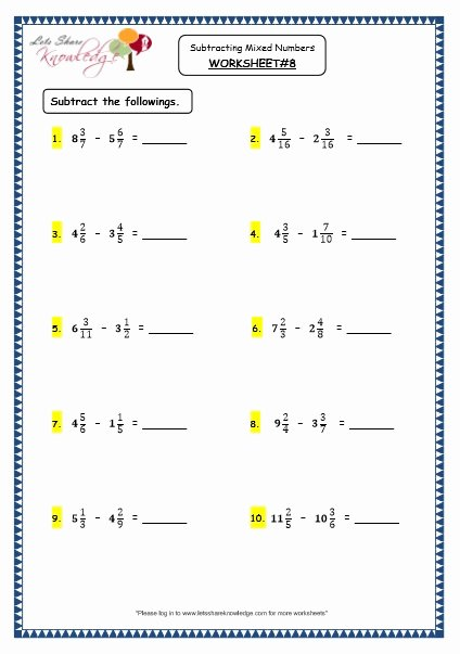 Subtracting Mixed Numbers Worksheet Luxury Grade 4 Maths Resources 2 5 3 Subtracting Mixed Numbers