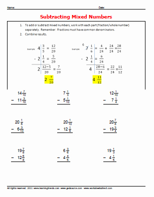 Subtracting Mixed Numbers Worksheet New Gedmath Ged Math Worksheets