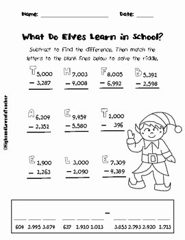 Subtraction Across Zeros Worksheet Fresh Free Subtracting Across Zeros and Regrouping Math Riddle