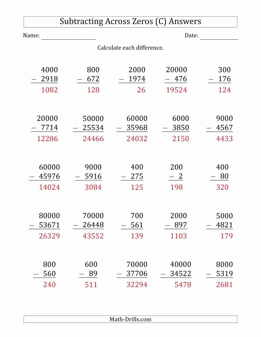 Subtraction Across Zeros Worksheet Fresh Subtracting Across Zeros From Multiples Of 100 1000 and