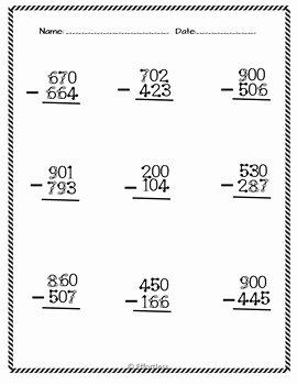 Subtraction Across Zeros Worksheet Fresh touch Math Subtraction Worksheets Subtraction Across