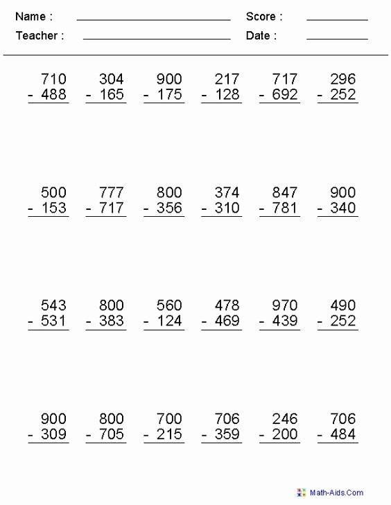 Subtraction Across Zeros Worksheet Inspirational Subtraction Across Zero Worksheets Math