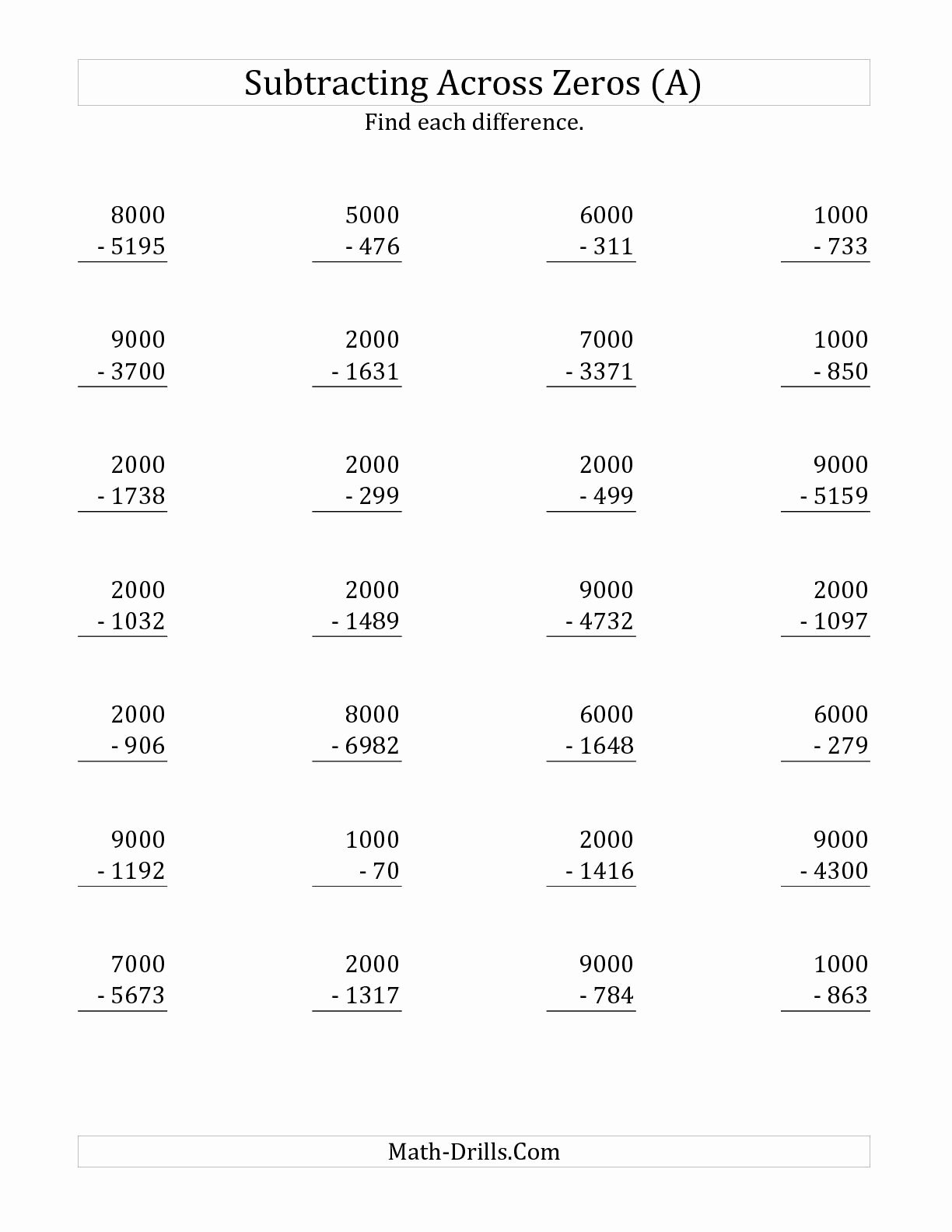 Subtraction Across Zeros Worksheet Lovely the Subtracting Across Zeros From Multiples Of 1000 A