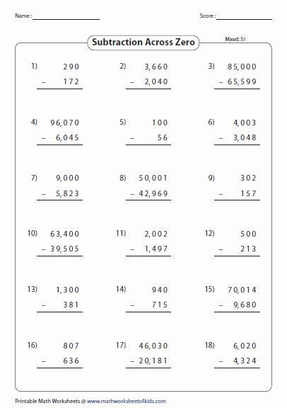Subtraction Across Zeros Worksheet Luxury Subtraction Across Zero Worksheets