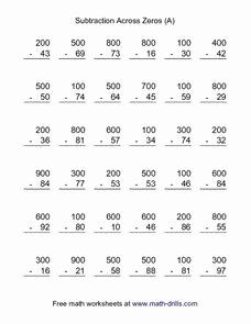 Subtraction Across Zeros Worksheet New Subtraction Across Zeros A 3rd 4th Grade Worksheet