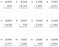 Subtraction Across Zeros Worksheet Unique Subtraction Across Zero Worksheets
