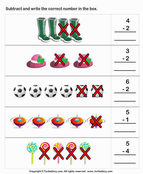 Subtraction Worksheet for Kindergarten Awesome Picture Subtraction Worksheet Turtle Diary