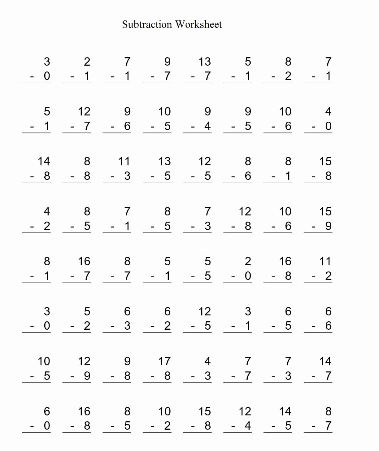 Subtraction Worksheet for Kindergarten Best Of Free Printable Kindergarten Math Worksheets