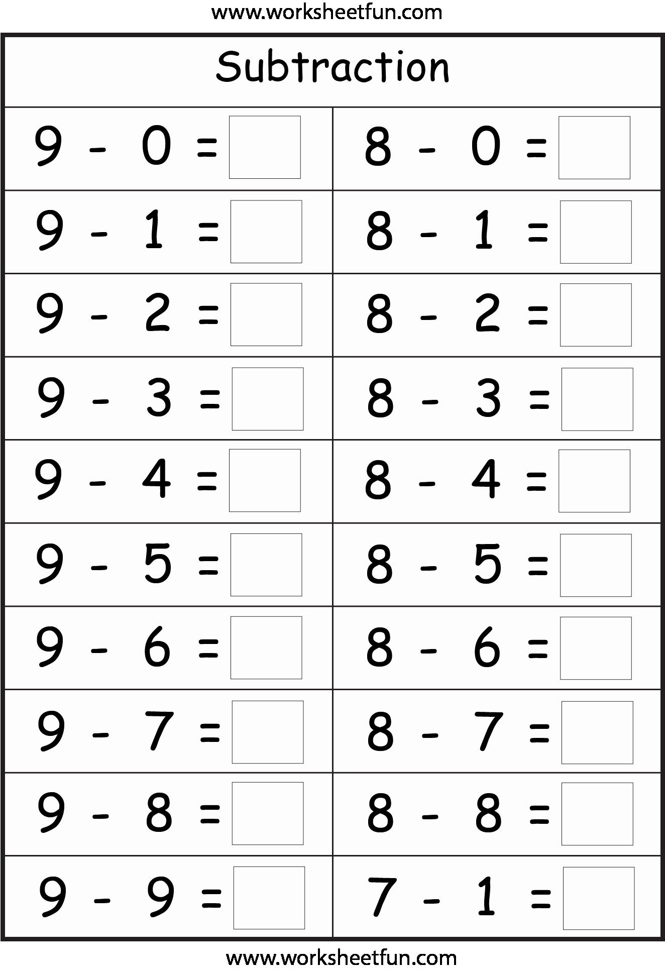 Subtraction Worksheet for Kindergarten Best Of Subtraction – 4 Worksheets Free Printable Worksheets