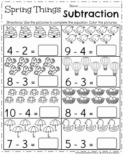 Subtraction Worksheet for Kindergarten Elegant Spring Kindergarten Worksheets