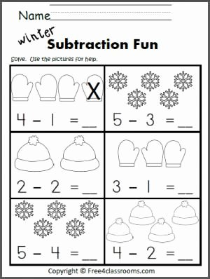 Subtraction Worksheet for Kindergarten Fresh Free Subtraction Worksheet Great Winter Math Activity