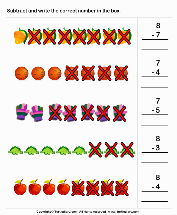 Subtraction Worksheet for Kindergarten Fresh Subtraction with Pictures