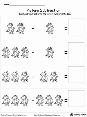 Subtraction Worksheet for Kindergarten Inspirational Picture Subtraction