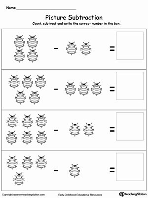 Subtraction Worksheet for Kindergarten Lovely Beginning Subtraction Using