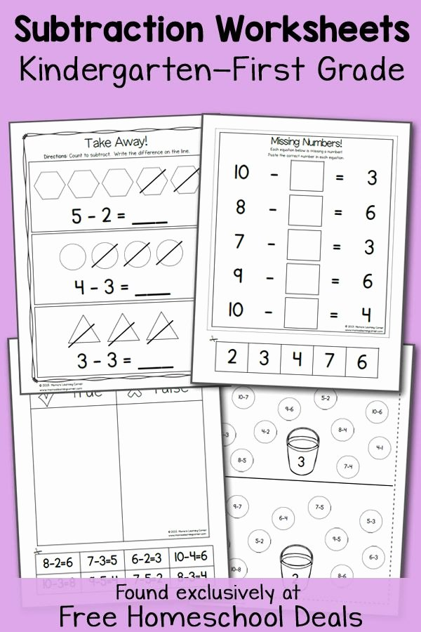 Subtraction Worksheet for Kindergarten Lovely Free K 1 Subtraction Worksheets Instant