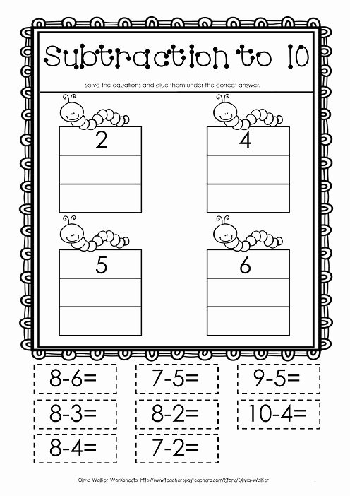Subtraction Worksheet for Kindergarten New Cut and Paste Subtraction to 10 Subtraction to Ten