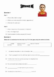 Super Size Me Video Worksheet Awesome Supersize Me Worksheets