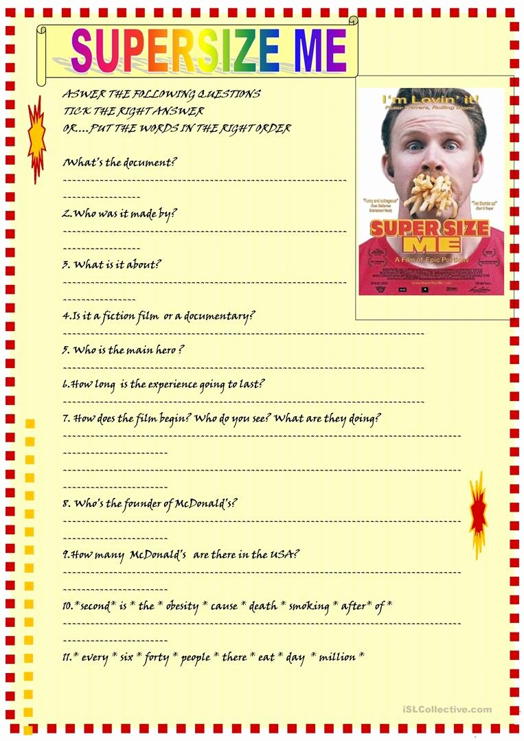 Super Size Me Video Worksheet Beautiful ️ Supersize Me Activities Movie Worksheet Super Size Me