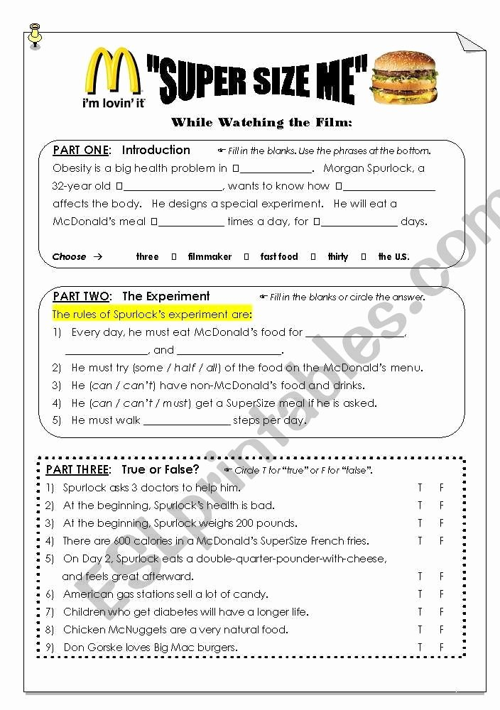 "Super Size Me Video Worksheet Elegant ""super Size Me"" Viewing Post Viewing Worksheet Esl"