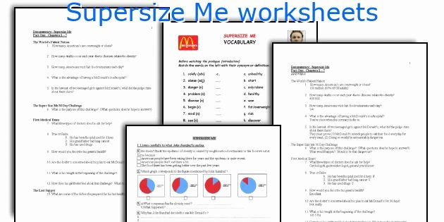 Super Size Me Video Worksheet Inspirational Supersize Me Worksheets