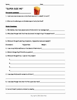 Super Size Me Video Worksheet New Supersize Me Movie Question Sheet with Key by Biology