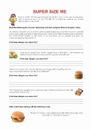 Super Size Me Video Worksheet Unique Intermediate Esl Worksheets Super Size Me