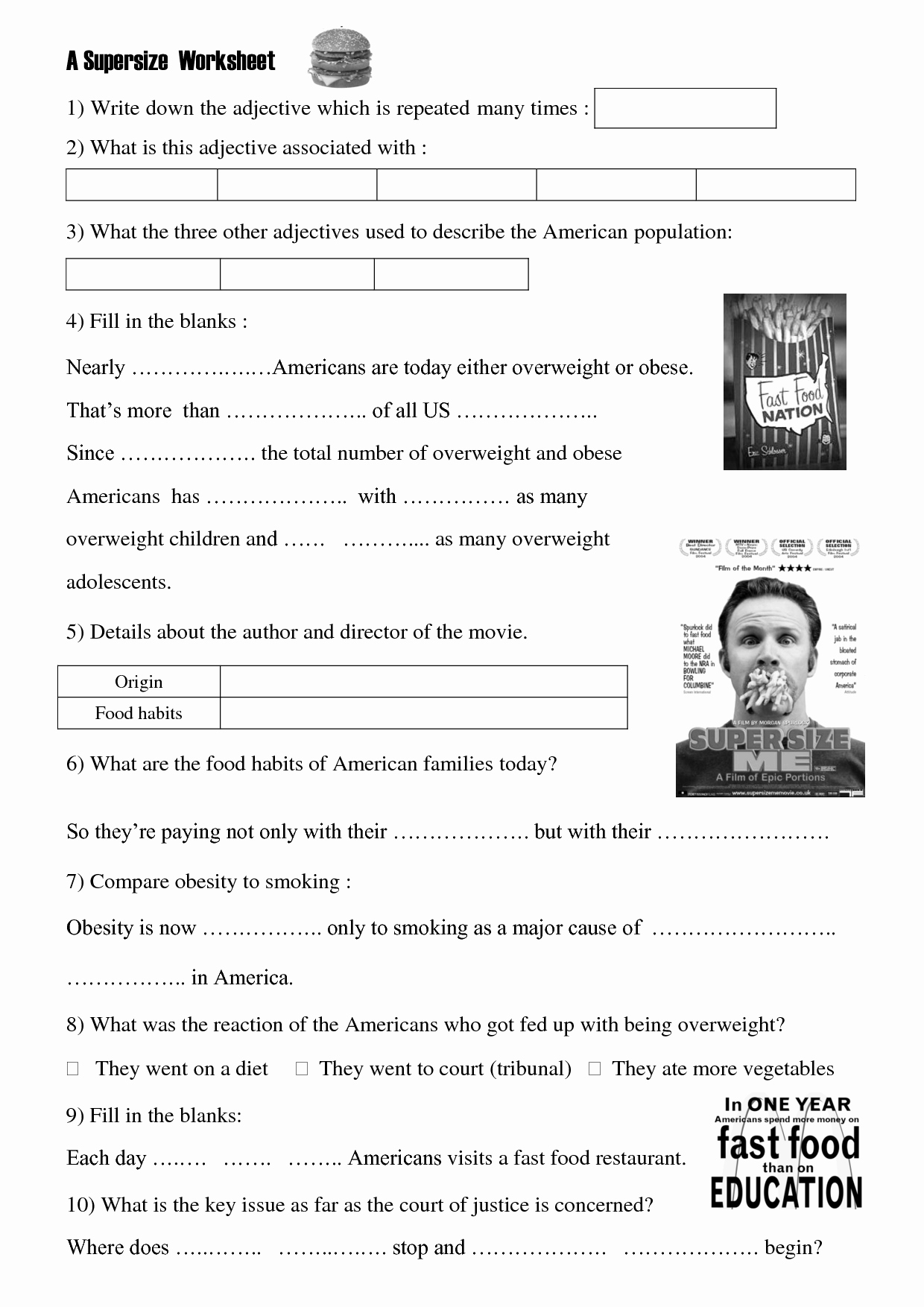 Super Size Me Video Worksheet Unique Movie Worksheet Super Size Me Health Class