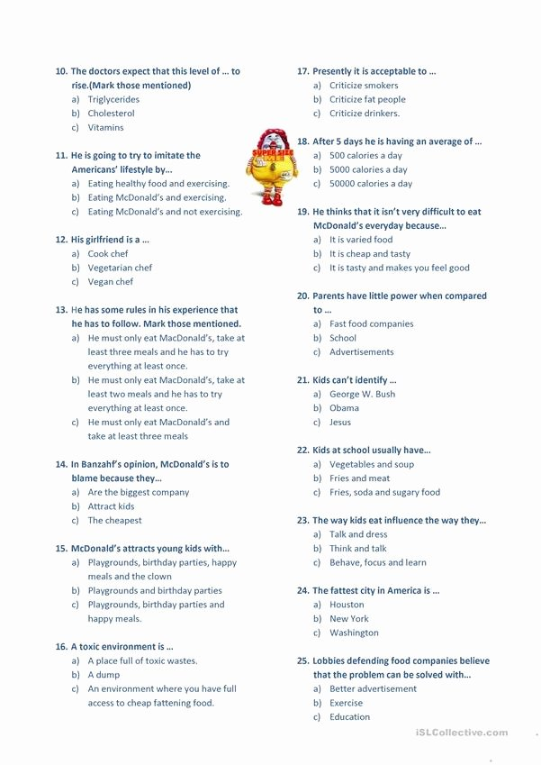Super Size Me Video Worksheet Unique Super Size Me Worksheet Free Esl Printable Worksheets