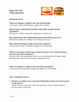Super Size Me Video Worksheet Unique Super Size Me Worksheet