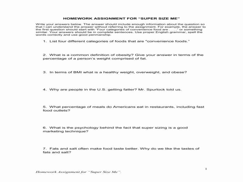 Super Size Me Worksheet Answers Awesome Supersize Me Worksheet Answers