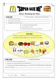 "Super Size Me Worksheet Answers Elegant ""super Size Me"" Pre Viewing Worksheet Esl Worksheet by"