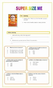 Super Size Me Worksheet Answers Inspirational English Worksheets Listening Prehension Super Size