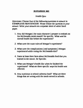 Super Size Me Worksheet Answers Inspirational Quiz for the Documentary Supersize Me Starring Morgan