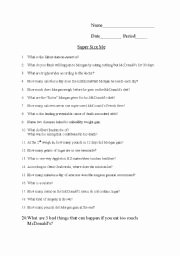 Supersize Me Worksheet Answers Elegant Super Size Me Movie Questions Esl Worksheet by Jenharter