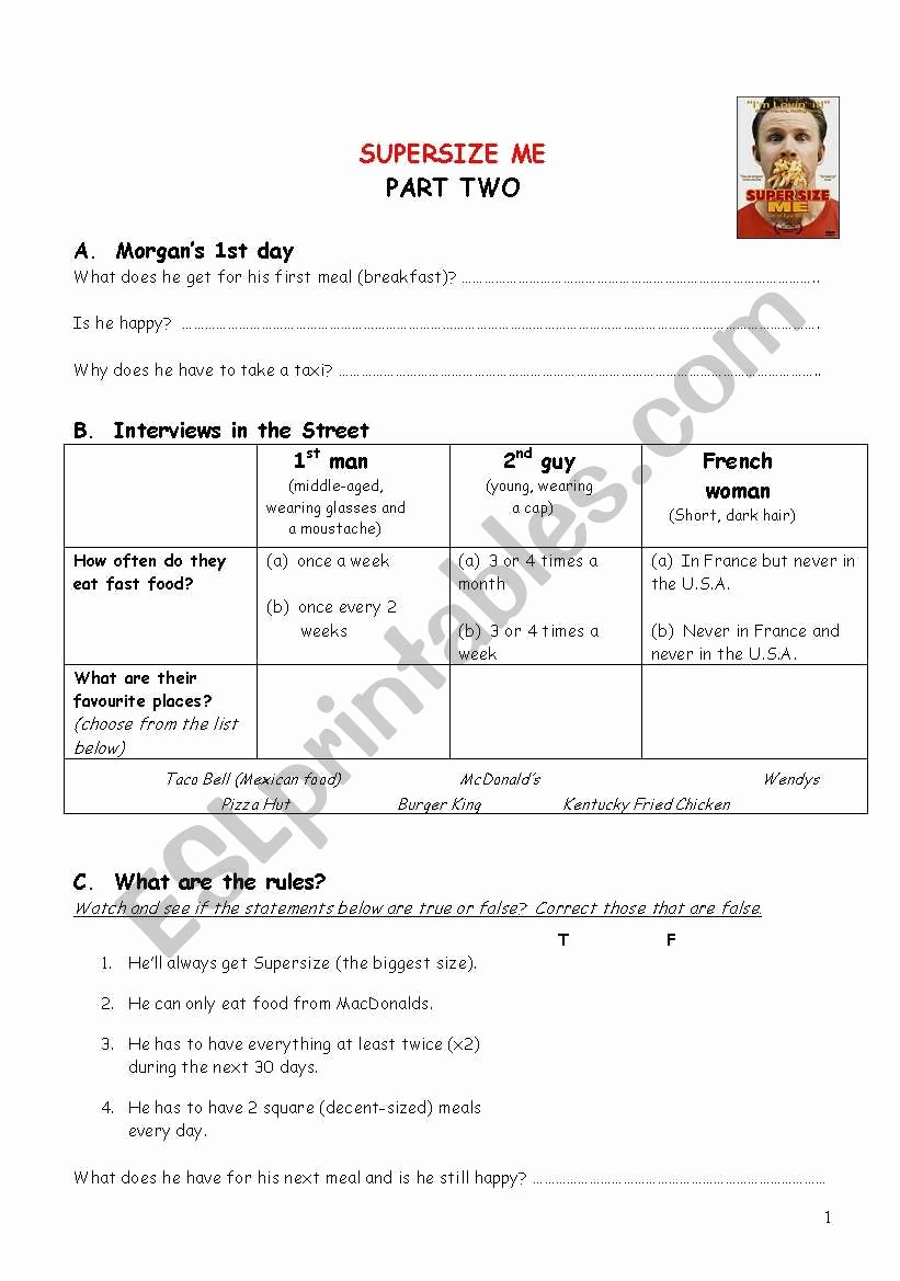 Supersize Me Worksheet Answers Elegant Supersize Me Part Two Interviews and Throwing Up Incident