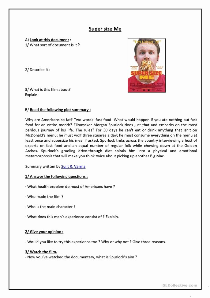 Supersize Me Worksheet Answers Inspirational Supersize Me Worksheet Free Esl Printable Worksheets